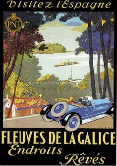 French Visit to Spain  Motoring Poster - Vintage Transport Posters