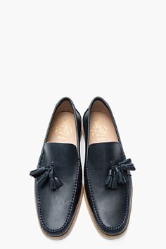 MR.HARE Navy Tasseled Leather Mailer Loafers
