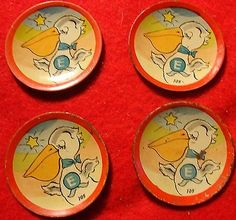 Ohio Art Wedding with Pelicans Tin Litho Tiny Cake Plates from Set 105