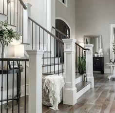 like the color of these ones 44 modern farmhouse staircase decor ideas 60 Staircase Remodel, Staircase Ideas, Grand Staircase, Staircase Makeover, Grand Foyer, House Goals, Home Fashion, Fashion Clothes, Kids Fashion