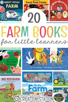 Spring means babies on the farm! It's the perfect season do learn all about the farm. They'll love learning about how food grows, the animals on the farm, and so much more!  20 Farm Books for Little Learners  - Mrs. Jones' Creation Station #Spring #Farm #Books
