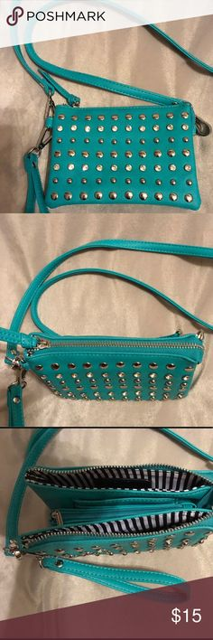 "Embellished turquoise small cross body bag NWOT ""Charming Charlie"" cross body organizer bag with 3  sections, long adjustable strap~embellished with silver studs and crystals Accessories"