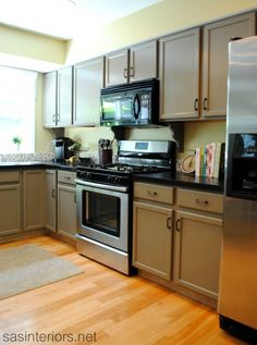 The paint color that I used for the cabinets was Benjamin Moore Berkshire Beige in a semi-gloss finish using their Aura Paint line (primer and paint in one).  A semi-gloss finish is important to use on cabinetry and/or furniture so the surface can easily be cleaned and/or wiped off.