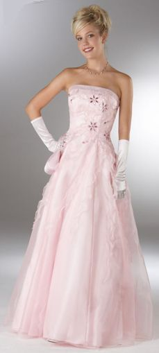 NWT Stunning Beaded Pink Satin Chiffon Strapless Pageant Prom Dress Evening Gown via Bootsies