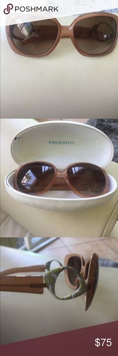 Emilio Pucci sunglasses Pucci sunglasses with case in great condition. The case has a few marks on it. The glasses have no scratches. Emilio Pucci Accessories Sunglasses