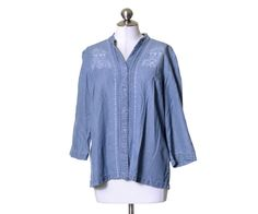 JM Collection Light Denim Blue Pin-tucked Tencel Button Embroidered Top Size 14 #JMCollection #Blouse #Casual