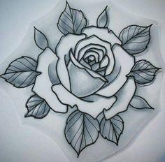 rose stencil tattoo #flowertattoo #tattoos #womentattoos Rose Drawing Tattoo, Tattoo Sketches, Tattoo Drawings, Flower Drawings, Tattoo Art, Art Drawings, Stencil Rosa, Rose Stencil, Traditional Rose Tattoos