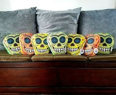 Throw Pillow Sugar Skull Day of the Dead NWT #Nanco #Boho