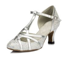 Minitoo Women's T-strap Silver Glitter Salsa Tango Ballroom Latin Dance Shoes Wedding Pumps 9.5 US