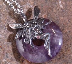 Amethyst Fairy Sterling Silver Donut Necklace by ShadowsandSpirits, $50.00