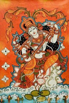 Goddess Saraswathi Kerala mural painting (via innu. Saraswati Painting, Krishna Painting, Madhubani Painting, Krishna Art, Indian Traditional Paintings, Indian Art Paintings, Oil Paintings, Hindus, Kalamkari Painting
