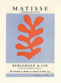 Print of the Matisse poster for the 1953 exhibition of paper cut-outs at the Berggruen gallery in Paris - Eclectic Home Decor - illustrations Henri Matisse, Matisse Kunst, Matisse Art, Matisse Cutouts, Plakat Design, A4 Poster, Paris Poster, Fine Art Prints, Canvas Prints