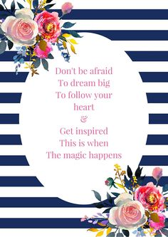 This floral inspirational quote print is part of my brand new #Ladyboss series. Colours Navy, Gold, Fuschia, White, please note the colours are flat colours, IE: The gold is not gold foil or metallic gold but a flat gold. Hand Designed with original quotes by Lisa Martin of www.glitterandgrace.co.uk This listing is for an INSTANT DOWNLOAD ART PRINT ONLY !! no physical product will be supplied, the frame and props in the first image are for display purposes only, none of these will be…