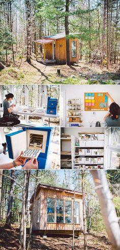 Inspiring Workspaces:  cosy woodland ceramic studio in rural Canada