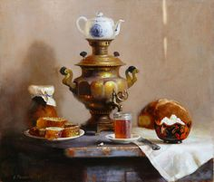 Still life with russian samovar, bread and honey , Snezhana Slavova