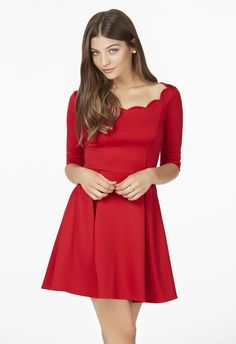 Scalloped Fit And Flare Dress