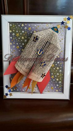 Framed Rocket folded book with name of your by DictionaryDivas