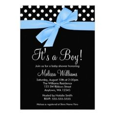 A stylish blue and black baby shower invitation. Featuring polka dots and a blue bow graphic. Perfect for a little boy baby shower