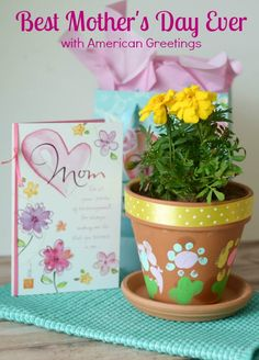DIY Mother's Day Gift Craft Kids Can Make via @momhatescooking. Painted Terra Cotta Flower Pot tutorial. Coordinate your with your Mother's Day Card with a simple craft perfect for the budding artists in your family for a gift you know Mom will cherish! Best Moms Day Ever SWEEPS