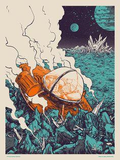 """Barry Blankenship """"Smooth Landing (Blue and Orange Variant)"""" Print"""