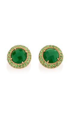 Carla Amorim's stud earrings. Faceted nephrite jade in a tsavorite-encrusted rose gold setting. 18K rose gold, nephrite jade, tsavorite. Made in Brazil.