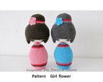 Pattern Girl flower ,kokeshi doll amigurumi crochet
