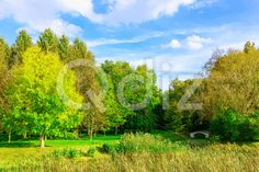 Qdiz Stock Images Landscape with Colorful Trees and Bridge over Pond,  #autumn #background #bridge #bright #cloud #construction #day #fall #foliage #forest #grass #green #landscape #light #nature #park #pond #season #sky #small #sunny #tiny #tree #view #water