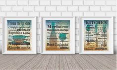 Set of 3  Wine types Coffee types Kitchen by BlackPelican on Etsy