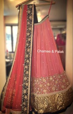 A Chamee&Palak creation - loved the blush pink color, border & simplicity! #lehenga
