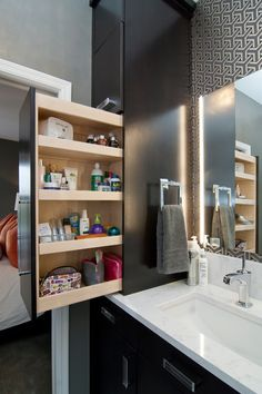 Contemporary bathroom, convenient shelf- Comfortable home details