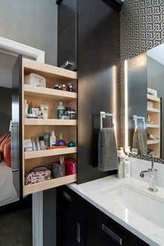 Contemporary bathroom, convenient shelf- Comfortable home details