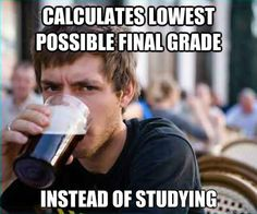 Lazy College Senior - calculates lowest possible final grade instead of studying
