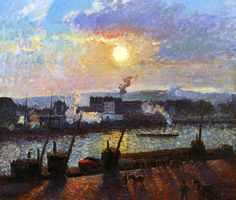 SUNSET, ROUEN, BY CAMILLE PISSARRO