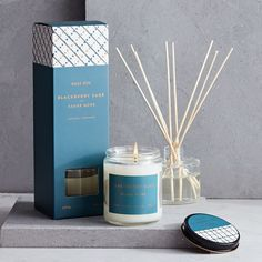 West Elm Greenhouse Collection, Blue, Blackberry Sage, Candle ($16) ❤ liked on Polyvore featuring home, home decor, candles & candleholders, inspirational home decor, fragrance candles, candle-stick, blue home accessories and blue bottle