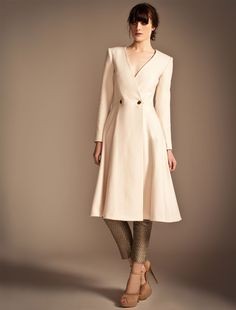 Temperley London Vienna Double Breasted Coat in White (Cream) | Lyst
