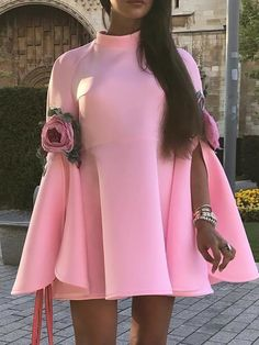 Slit Bell Sleeve Pleated Mini Dress Shop- Women's Best Online Shopping - Offering Huge Discounts on Dresses, Lingerie , Jumpsuits , Swimwear, Tops and More. Maxi Dress With Slit, Lace Dress, Pattern Fashion, African Fashion, Sleeve Styles, Button Dress, Dresses Online, Bell Sleeves, Cold Shoulder Dress