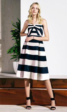 Karen Millen Spring | Summer 2016 - Bow detail striped dress