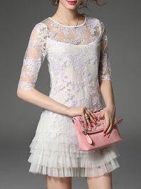Embroidery Mesh Mini Dress