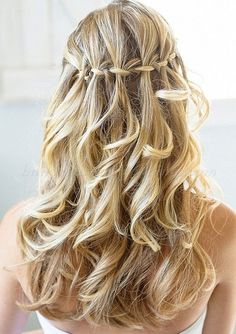 braided+wedding+hairstyles,+bridal+hairstyles+with+plaits+-+waterfall+braid+wedding+hairstyle