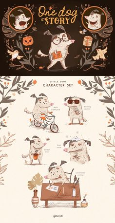 One Dog Story • Character set by YetiCrab on @creativemarket