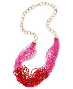 Haskell Necklace, Gold-Tone Fuchsia Seed Bead Twisted Long Necklace