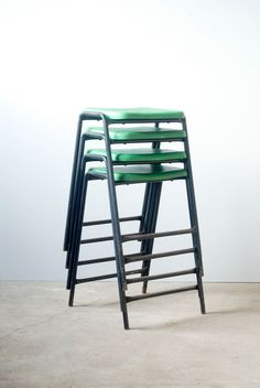 Vintage Stacking School Lab Stools by Robin Day - 7 Available