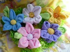 Washcloth Flowers for Baby Shower or Party Decor.