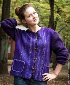 """Пиджаки, жакеты ручной работы. Ярмарка Мастеров - ручная работа Жакет валяный """"Фиолетовая история"""". Handmade."""