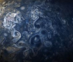 NASA has shared brand new photos of Jupiter taken by the Juno spacecraft, showing the gas giant's blue-tinged skies. The Juno spacecraft takes batches of photos about every 53 days as it orbits Jupiter. Jupiter Storm, Juno Jupiter, Jupiter Planet, Space Photos, Space Images, Vincent Van Gogh, Jupiter Photos, Cloud, Storms
