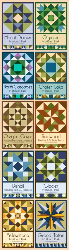 Northwestern Parks - We have quilt blocks of more than 75 National Parks and Monuments for sale on our web site. Choose the parks you want, single quilt blocks or sets. Free shipping over $100!