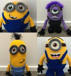 Knitting Patterns for Minions Toys - Patterns for Bob, Stuart, Kevin, and the Purple Minion can be bought as a set or individually. Flat knit on two needles. Approximately 24cm-45cm tall. See them with other Minion patterns at http://intheloopknitting.com/minion-inspired-knitting-patterns/ or go directly to the pattern on Etsy at http://www.awin1.com/cread.php?awinaffid=234273&awinmid=6220&p=https%3A%2F%2Fwww.etsy.com%2Flisting%2F293354235%2Fall-four-minion-knitting-patterns-pdf