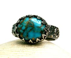 Sterling Silver Ring, Natural Turquoise, Vintage Inspired, Custom Handmade Jewelry, Blue Stone, made to order on Etsy, $95.00
