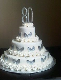 My Grandmother's 80th Birthday cake. - use butterflies and its my wedding cake ;)