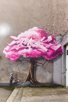 A nice graffiti pink tree painted on a wall. _________________________ Look, graffiti is and can be both art and vandalism. It's always been that way, and it's not an either-or, mutually exclusive choice. Amazing Street Art, 3d Street Art, Street Artists, Amazing Art, Graffiti Art, Street Art Graffiti, Reverse Graffiti, Art It, Love Art